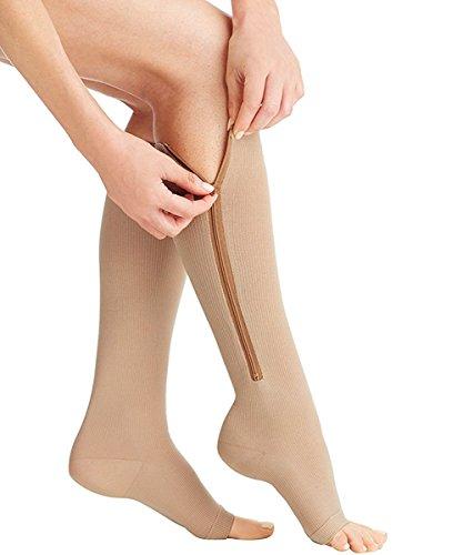 Tag Schiere Strumpfwaren (ailaka Reißverschluss Medical Kompression Socken für Damen und Herren, Knie Hohe offener Zehenbereich unterstützen Graduated Krampfadern Strumpfwaren für Ödeme, geschwollene, Krankenschwestern, Schwangerschaft, Recovery)