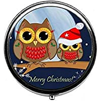 LinJxLee Merry Christmas Owls Round Pill Case Pill Box Tablet Vitamin Organizer Easy to Carry preisvergleich bei billige-tabletten.eu