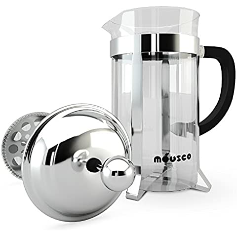 Miusco in acciaio INOX 18/8, doppie pareti French Press Coffee Tea & Espresso Maker, 34 Oz, 1 litro, 8 tazze, classiche chrome