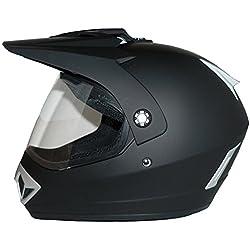 Protectwear casque de motocross / Enduro, noir mat, avec visière rabattable claire, V370, Taille: S