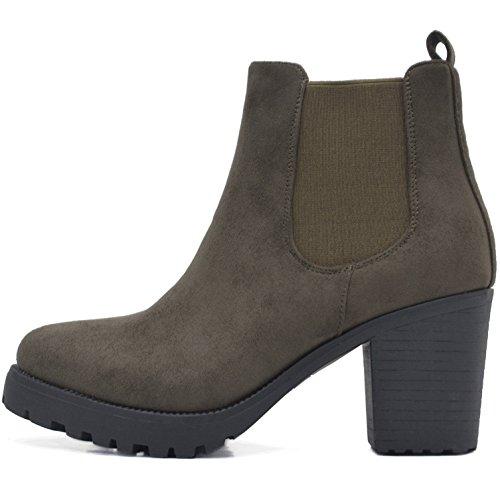 FLY 4 Chelsea Boots Plateau Stiefeletten in Vielen Farben und Mustern (39, Grün) (Grüne Ankle Boots)