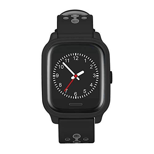 Anio 4 Touch SCHWARZ GPS Kinder Smartwatch - Schutz für Ihr Kind - SOS Notruf + Telefonfunktion - Keine MONITORFUNKTION - GPS Kinder Uhr (Schwarz) Touch-screen-tasten