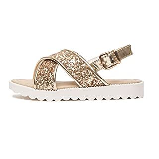 Girls Sandals Sizes 10 11 12 13 1 2 Gladiator Glitter Sparkle Slider Cross Strap Buckle Shoes (UK 10 (Infant), Iara Gold)