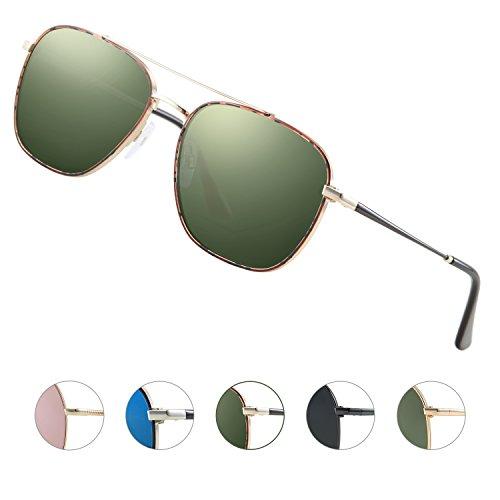 Elegear Gafas Aviador Hombre 2018 Gafas de sol Aviator Polarizadas Cuadrado, Marco de acero inoxidable, Protección 100% UV400 con increíble mejor color y claridad (Gafas Aviador Verde 07)