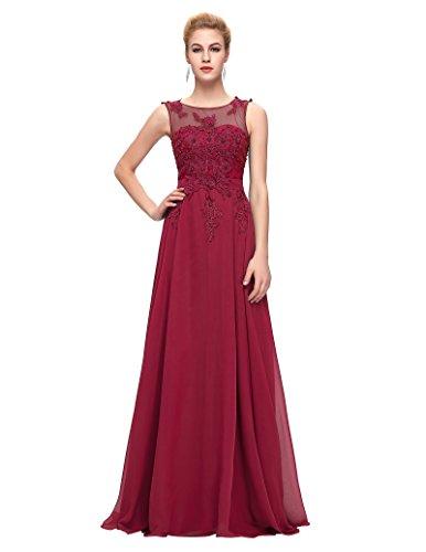 Damen V-Rückenfrei Chiffon Langes Party Ballkleid Abendkleid 42 CL007555-5