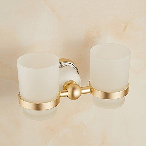 SZ-LY Europäische Retro-Raum Aluminium Doppel Tasse Becher Mund Tasse Pinsel Tasse Becherhalter gebackene weiße Farbe Gold Doppel Tasse antike Doppel Tasse -