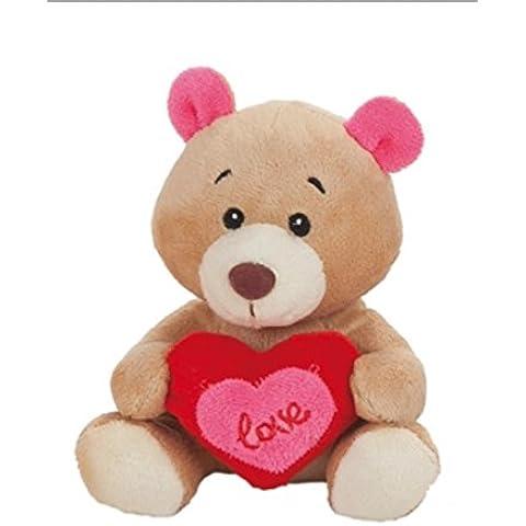 Precioso peluche OsoMarrón Claro con un corazón rosa y rojo Love 17cm super suave