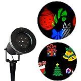 LED Projektor mit bunten Weihnachtsmotiven   Weihnachtsbeleuchtung für innen und außen - wasserdicht und robust, perfekt als Gartenleuchte