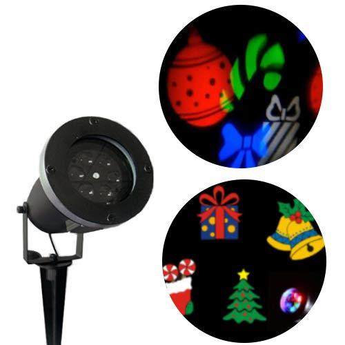 LED Projektor mit bunten Weihnachtsmotiven | Weihnachtsbeleuchtung für innen und außen - wasserdicht und robust, perfekt als Gartenleuchte