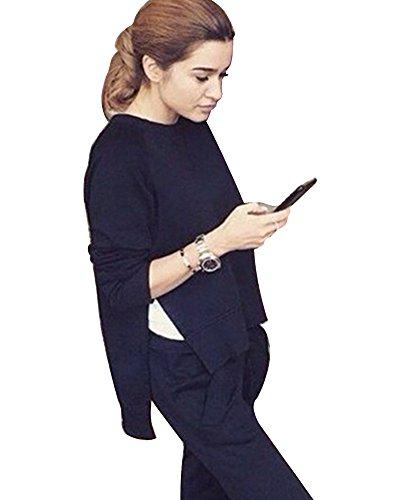 Femme Sûrvêtement Fendue Tops Manches Longues Pullover Sweat-shirt Hauts+Pantalons Noir
