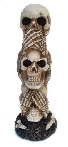 Bellaa Le Hear-no, See-no, Speak-no Evil Tête de Mort Statue Sculpture Figure Squelette Limitée par la