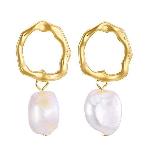 erne Ohrennadelarren, barocke Naturfreshewasserperle mit freischaffenden Drop-Ohr-Ohr-Ohr-Rarrings für Mädchen,EH00764A ()