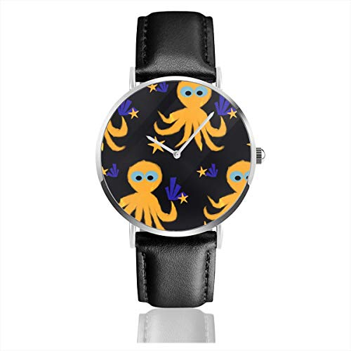 Business Analog Watches,Cute Octopus Classic Stainless Steel Quartz Waterproof Wrist Watch with Leather Strap