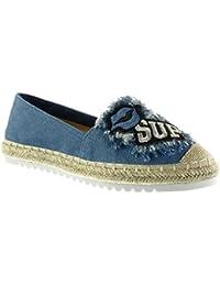 Angkorly - Zapatillas de Moda alpargatas Mocasines slip-on suela de zapatillas mujer fantasía bordado cuerda Talón tacón plano 2.5 CM - Azul