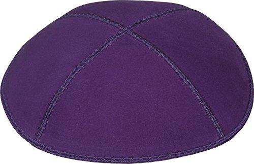 Hüte Jüdische Für Männer (Schlichte Kippa aus Echtem Velourleder mit 4 Abschnitten, Lila, Mittlere)