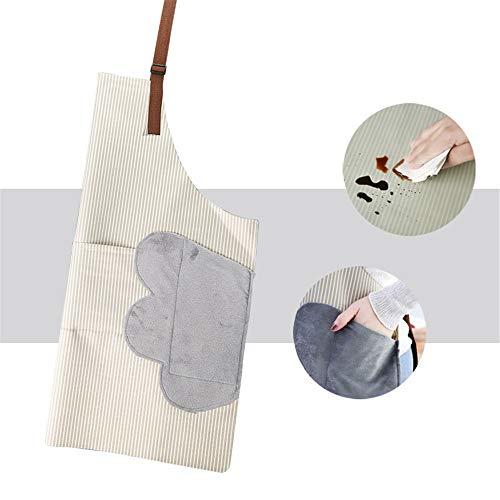 YXDZ (2 Stück Löschbare Handschürze wasserdichte Gestreifte Tasche Süße Damen Taille Ölbeständiger Herren-Hausoverall Mit Kapuze Weiß -
