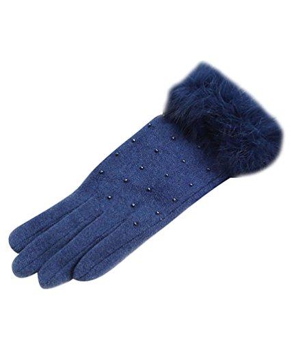 NiSeng Femmes Gants très Chauds Gants pour écran Tactile pour Hiver Doux Tricoter des Gants Bleu
