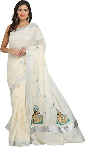 Exotic India Ivory Kasavu Tissue Saree from Kerala with Embroidered - Off-White
