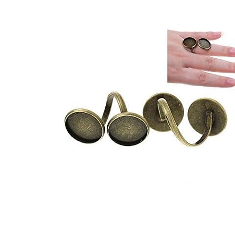 Creafirm - 5 Bagues Bronze Double Cabochons
