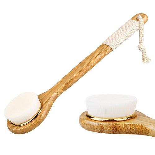 Molain Brosse de Bain pour Massage du Dos Corps Brosse de Douche Exfoliante Bath Brush avec Longue Poignée en Bambou Nettoyage en profondeur - Blanc