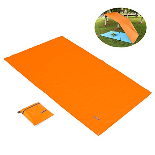 Ovemont telo sotto tenda impermeabile, tovaglia picnic, lenzuola/velario sulla spiaggia, stoffa per escursioni all'outdoor di colore arancio