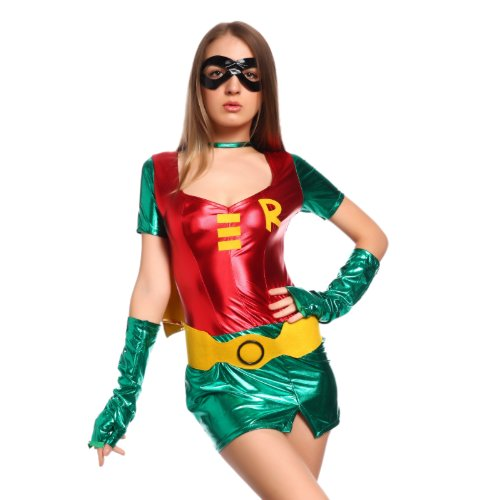 Sexy Damen Heldin Outfit Cosplay Woman Hero Karneval Party Mottoparty Rot-Gruen (Robin Sexy Kostüme Female)