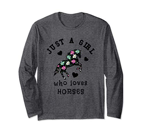 Just A Girl Who Loves Horses Floral Women Langarmshirt Crazy Horse Riding Apparel