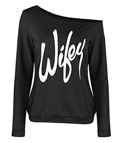 cb0c46163b6b4 ZKOO Mujeres Otoño Manga Larga Fuera del Hombro Letras Impresas Sudaderas  Sweatshirt Pulóver Elegante Negro