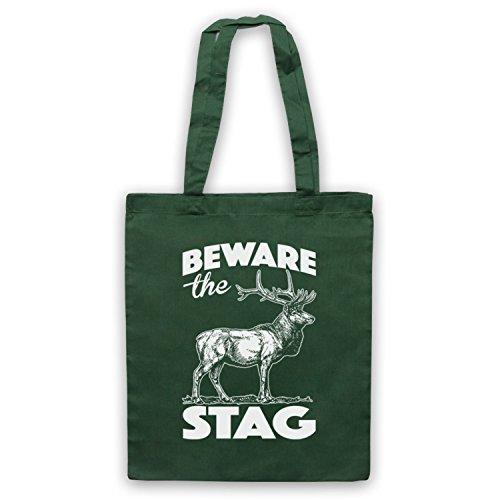 Beware The Stag Stag Do Slogan Umhangetaschen Dunkelgrun