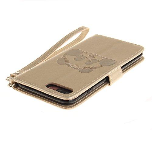 PU Prägen Panda Silikon Schutzhülle Handyhülle Painted pc case cover hülle Handy-Fall-Haut Shell Abdeckungen für Apple iPhone 7 Plus (5.5 Zoll) +Staubstecker (7CE) 7