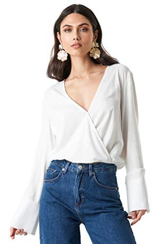 NA-KD Trend - Damen Langarmshirts Wrap Overlap Jersey Top Oberteile Weiß