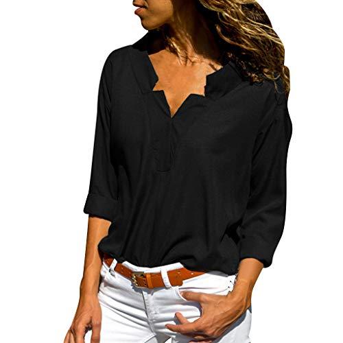VJGOAL Tops Damen Bluse Elegant Sommer Lange Ärmel Frauen Große Größen Klassisch Einfarbig V Ausschnitt Lose T Shirt (Womens Zip-fall-id)