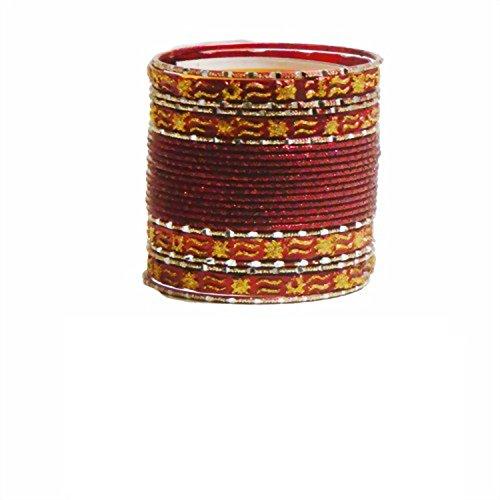 Indische Bangles 24 Armreifen Mahive rot gold 7cm mit Bindis Bollywood Sari Schmuck (Indische Armreifen Rot)
