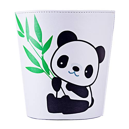 Mecotech Papierkorb Kinder mit Panda Motiv, 10 Liter Wasserdicht Mülleimer, Perfekt für Kinderzimmer, 27 x 25 x 20 cm