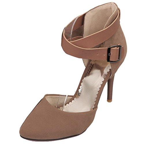 YE Damen 8cm Absatz Riemchen High Heels Spitze Wildleder Stiletto Pumps Mit Roter Sohle und Schnalle Schuhe Beige