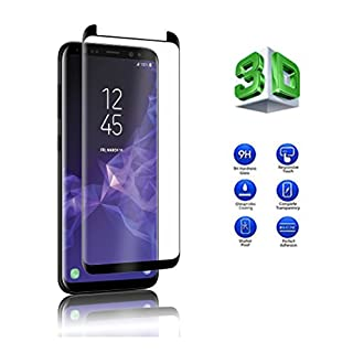 Samsung Galaxy S9 Screen Protector, KP TECHNOLOGY [Full Adhesive] Tempered Glass Screen Protector [Scratch Resistant] Full Coverage (3D) Carbon Fiber Screen Protector For Galaxy S9 (BLACK)