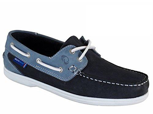 QUAYSIDE Portugiesisch Damen Leder Bootsschuhe Marineblau/Blau EU 37