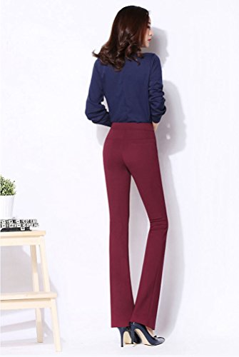 YiLianDa Pantaloni Zampa Elefante Donna Slim Fit Stretch OL Temperamento Ladies Pantaloni Rosso