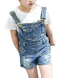 Runyue Jeans Shorts para Niñas Mono Vaquero Pantalones Cortos de Peto de Mezclilla Overalls