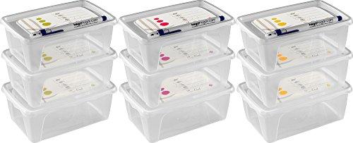 Kigima Frischhaltedosen Gefrierdosen 9er Set 1l mit beschreibbarem Deckel und 3 Stiften, weiß
