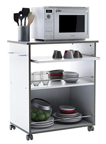 habeig Küchenwagen #291 Weiss Küchentrolley Rollen Küchenschrank Holz 75x60x40cm (HxBxT)