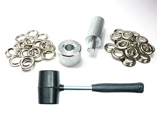 Ösenset 25 mm + 50 Ösen Nickel rostfrei Einschlagstempel + Hammer Ösenstanze