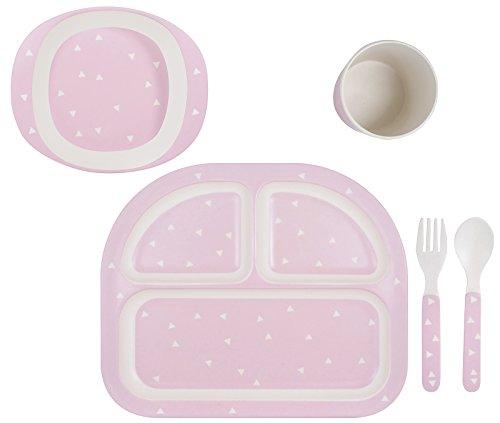 Kindsgut Geschirr-Set, Baby-Besteck, Dreiecke rosa