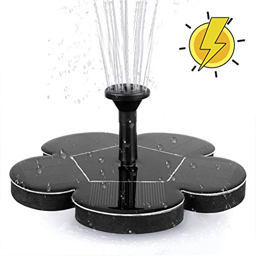 Solar Fountain Pump with Battery Backup, Free Standing 1.4W Bird Bath Fountain Solar Panel Kit Water Pump for Birdbath, Pond, Pool,Garden and Lawn -