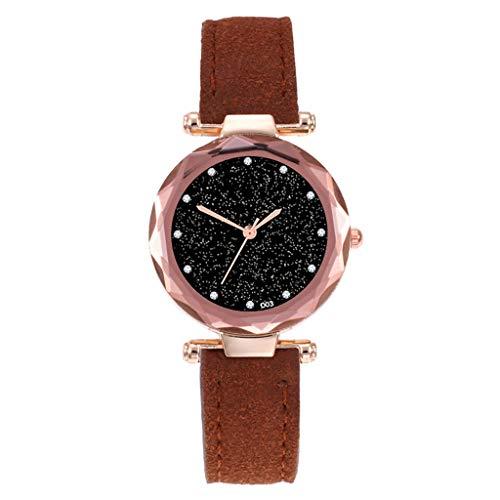 LuckhomeDamen Analog Quarz Uhr mit Leder ArmbandMode Frauen Leder Casual Uhr Luxus Analog Quarz Starry Sky Armbanduhr(Kaffee) - Kaffee-pakete Individuelle