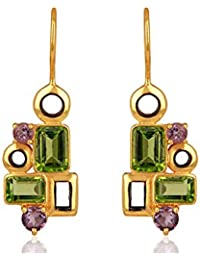 Sterling Silver 925 Rhodium Plated Drop Earrings for Women and Girls with Amethyst & Peridot