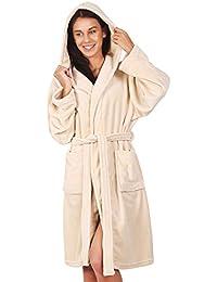 DecoKing Albornoz XXXL Corto Mujer Hombre Unisex Capucha Bata Microfibra Suave Agradable Ligero Fleece Beis Beige Robby