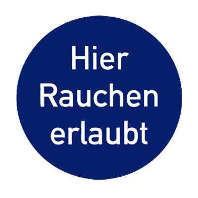 """Gebotszeichen Gebotsschild """" Hier Rauchen erlaubt """" Durchmesser 200 mm Folie #692945"""