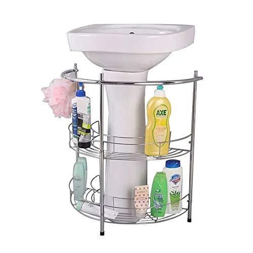 YUSDP Badezimmer Podest Lagerregal, Regaleinheit Handtuchhalter-Qualität Metall verchromt Draht, freistehend mit 2 Regalen-21 * 24 Zoll Silber (Bad Waschbecken Podest)