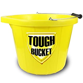 CrazyGadget® Super Heavy Duty Invincible Yellow Builders Bucket Plastic 3 Gallon 15 Litre 15L Strong Water Mixing Storage (5 Years Guarantee) (1)